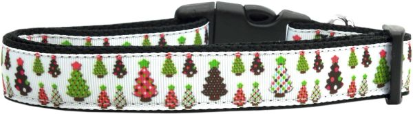 Holiday Dog Collars: Nylon Ribbon Dog Collar DESIGNER CHRISTMAS TREES - Matching Leash Sold Separately