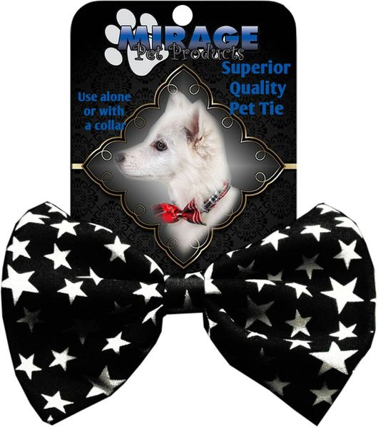 DOG BOW TIE: Decorative & Classy Silky Polyester Dog Tie - BLACK & WHITE STARS