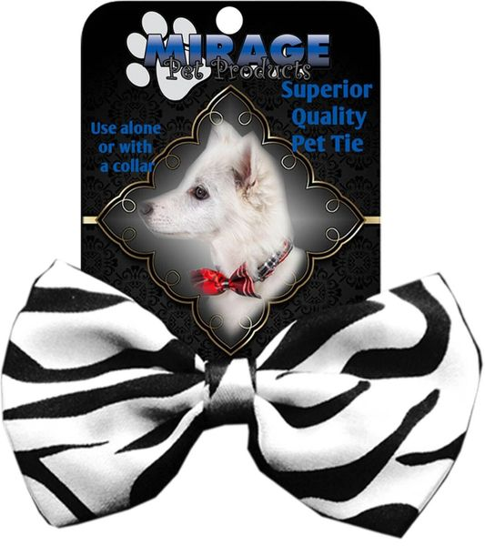 DOG BOW TIE: Decorative & Classy Silky Polyester Dog Tie with Durable Elastic Band - ZEBRA