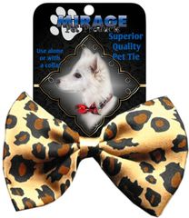 DOG BOW TIE: Decorative & Classy Silky Polyester Dog Tie with Durable Elastic Band - LEOPARD