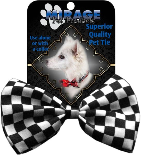 DOG BOW TIE: Decorative & Classy Silky Polyester CHECKER Dog Tie in Two Colors with Durable Elastic Band