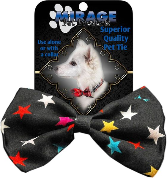 DOG BOW TIE: Decorative & Classy Silky Polyester Bow Tie for Dogs - CONFETTI STARS