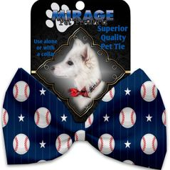 DOG BOW TIE: Decorative & Classy Silky Polyester Bow Tie for Dogs - BASEBALL PINSTRIPES