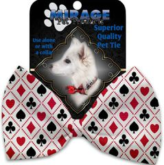 DOG BOW TIE: Decorative & Classy Silky Polyester Bow Tie for Dogs - DECK OF CARDS