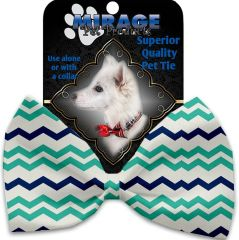 DOG BOW TIE: Decorative & Classy Silky Polyester Bow Tie for Dogs - AQUATIC CHEVRON