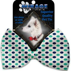 DOG BOW TIE: Decorative & Classy Silky Polyester Bow Tie for Dogs - AQUATIC DOTS