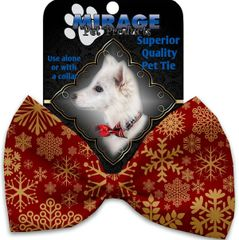 DOG BOW TIE: Decorative & Classy Silky Polyester Dog Tie with SNOWFLAKES in 5 Different Designs