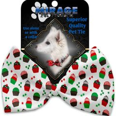 DOG BOW TIE: Decorative & Classy Silky Polyester Bow Tie for Dogs - CHRISTMAS CUPCAKES