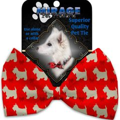 DOG BOW TIE: Decorative & Classy Silky Polyester Bow Tie for Dogs - CHRISTMAS WESTIES