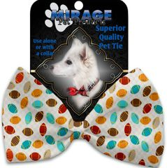 DOG BOW TIE: Decorative & Classy Silky Polyester Bow Tie for Dogs - FOOTBALL FRENZY
