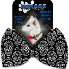 DOG BOW TIE: Decorative & Classy Silky Polyester Dog Tie with SKULLS in 7 Different Halloween Designs