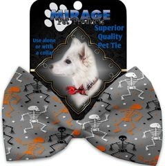 DOG BOW TIE: Decorative & Classy Silky Polyester Bow Tie for Dogs - SKELETONS DANCING