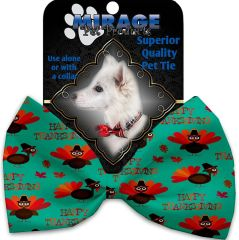 DOG BOW TIE: Decorative & Classy Silky Polyester Bow Tie for Dogs - HAPPY THANKSGIVING