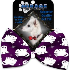 DOG BOW TIE: Decorative & Classy Silky Polyester Bow Tie for Dogs - GHOST 0N PURPLE