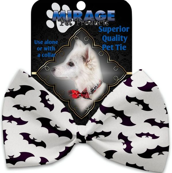DOG BOW TIE: Decorative & Classy Silky Polyester Bow Tie for Dogs - PURPLE BATS