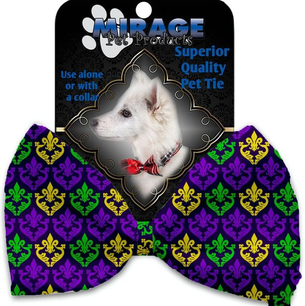 DOG BOW TIE: Decorative & Classy Silky Polyester Bow Tie for Dogs - CLASSIC FLEUR DE LIS