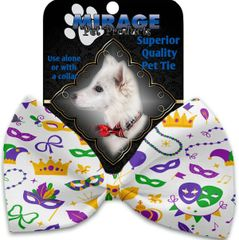 DOG BOW TIE: Decorative & Classy Silky Polyester Bow Tie for Dogs - MARDI GRAS MASKS