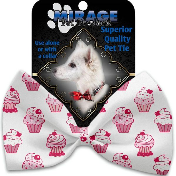 DOG BOW TIE: Decorative & Classy Silky Polyester Bow Tie for Dogs - PINK WHIMSY CUPCAKES