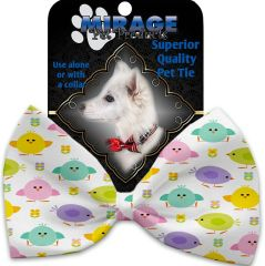 DOG BOW TIE: Decorative & Classy Silky Polyester Bow Tie for Dogs - EASTER CHICKADEES