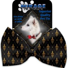 DOG BOW TIE: Decorative & Classy Silky Polyester Bow Tie for Dogs - BLACK & GOLD FLEUR DE LIS