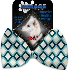 DOG BOW TIE: Decorative & Classy Silky Polyester Bow Tie for Dogs - BLUE DIAMOND