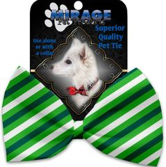 DOG BOW TIE: Decorative & Classy Silky Polyester Bow Tie for Dogs - ST. PATRICK'S STRIPES