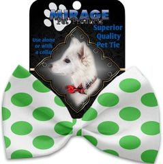 DOG BOW TIE: Decorative & Classy Silky Polyester Bow Tie for Dogs - WHITE & GREEN DOTTED