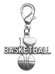 Pet Charms: Chrome Dangle Dog Charm for Dog Collars by Mirage I 'HEART' BASKETBALL