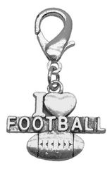 Pet Charms: Chrome Dangle Dog Charm for Dog Collars by Mirage I 'HEART' FOOTBALL