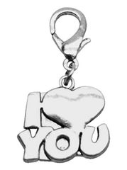 Pet Charms: Chrome Dangle Dog Charm for Dog Collars by Mirage I 'HEART' YOU