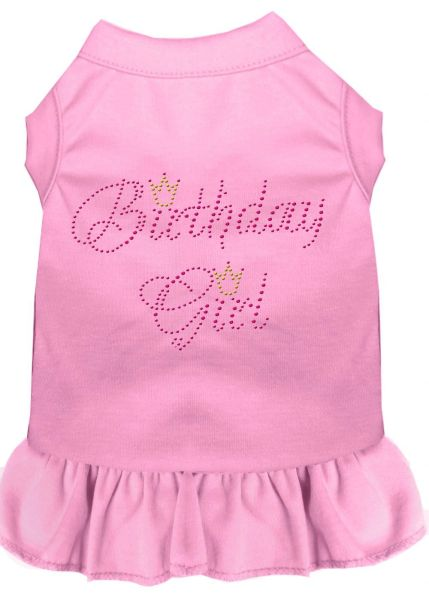 DOG DRESSES: Rhinestone Dress BIRTHDAY GIRL Poly/Cotton with Ruffle Trim in Various Colors & Sizes