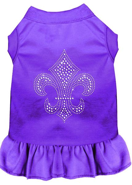 DOG DRESSES: Rhinestone Dress SILVER FLEUR DE LIS Poly/Cotton with Ruffle Trim Various Colors & Sizes by Mirage