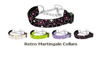 MARTINGALE DOG COLLARS: Nylon Ribbon RETRO Dog Collar -Matching Leash Sold Separately