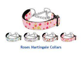 MARTINGALE DOG COLLARS: Nylon Ribbon ROSES Dog Collar - Matching Leash Sold Separately