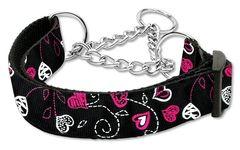 Martingale Dog Collars: Nylon Dog Collar Mirage Pet Products - CRAZY HEARTS