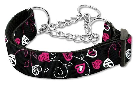 MARTINGALE DOG COLLARS: Nylon CRAZY HEARTS Dog Collar - Matching Leash Sold Separately