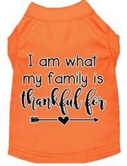 Dog Shirts: Thanksgiving Screen Print Dog Shirt in Various Colors & Sizes by MiragePetProducts - I AM WHAT MY FAMILY IS THANKFUL FOR