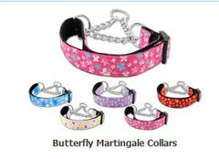 Martingale Dog Collars: BUTTERFLY Nylon Ribbon Dog Collar Mirage Pet Products USA