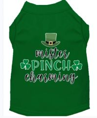 Funny Dog Shirts: St. Patrick's Day Screen Print MISTER PINCH CHARMING Dog Shirt in Various Colors & Sizes