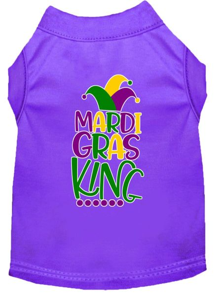 Funny Dog Shirts: Screen Print MARDI GRAS KING Dog Shirt in Various Colors & Sizes
