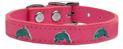 Leather Dog Collars: Cool Genuine Leather Dog Collars with Cute DOLPHIN Widgets in Different Colors and Sizes by Mirage USA