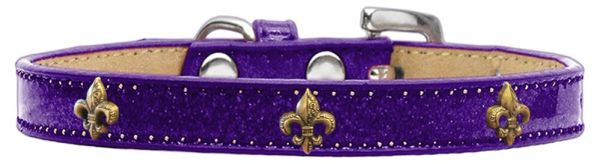 Dog Collars: Ice Cream Dog Collar with BRONZE FLEUR DE LIS Widgets in Various Colors and Sizes
