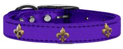Dog Collars: METALLIC Leather Dog Collar in Different Colors and Sizes with FLEUR DE LIS Widgets by Mirage USA