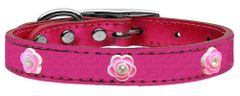 Dog Collars: Gunine METALLIC LEATHER Dog Collar in Different Colors and Sizes with BRIGHT PINK ROSE Widgets by Mirage USA