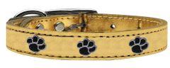 Leather Dog Collars: METALLIC Leather Dog Collar Mirage Pet Products USA - Black PAWS