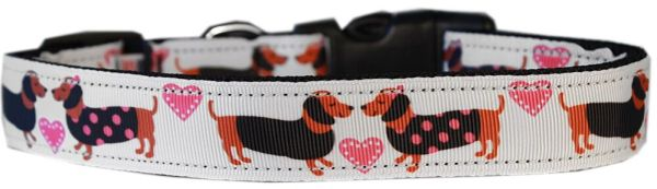 Dog Collars: Nylon Ribbon Cat/Dog Collar PINK DOXIE LOVE - Matching Leash Sold Separately
