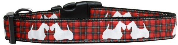 Nylon Dog Collars: Cat/Dog Collar RED PLAID SCOTTIE PUPS - Matching Leash Sold Separately