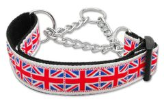 Martingale Dog Collars: TILED UNION JACK (UK Flag) Nylon Ribbon Dog Collar