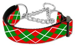 Martingale Dog Collars: CHRISTMAS ARGYLE Nylon Ribbon Dog Collar Mirage Pet Products USA