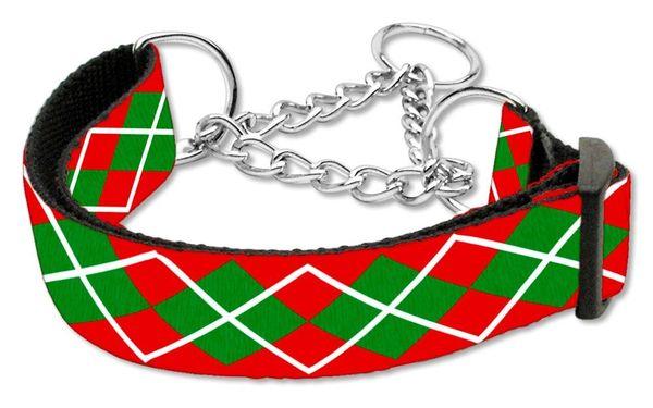 MARTINGALE DOG COLLARS: Nylon Ribbon Dog Collar CHRISTMAS ARGYLE - Matching Leash Sold Separately